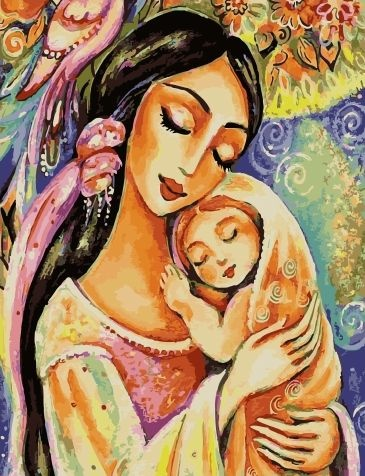 Картина по номерам 40x50 Мама с ребёнком и красивые цветы